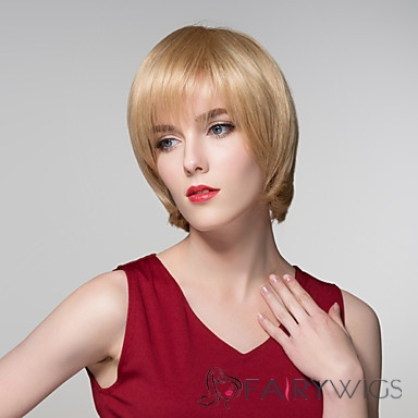 Newest Straight Smooth Human Virgin Remy Hand Tied-Top Capless Hair Woman Wigs