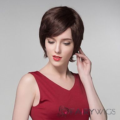 Natural Wavy Human Virgin Remy Hand Tied-Top Capless Hair Wigs for Woman