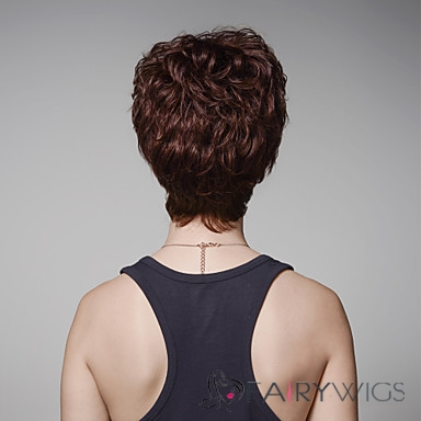 Newest Fluffy Short Wavy Human Virgin Remy Hair Hand Tied -Top Emmor Wigs for Woman