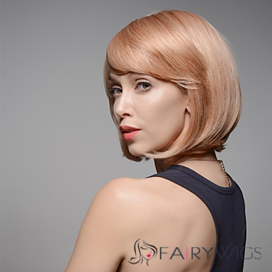 Bob Style Short Syraight Remy Human Hair Hand Tied -Top Woman's Emmor Wigs