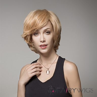 Short Layered Wavy Remy Human Hair Hand Tied -Top Emmor Woman's Wig