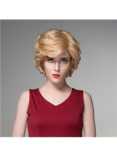 Short MultiColors Wavy Human Virgin Remy Hand Tied-Top Capless Hair Wig for Woman
